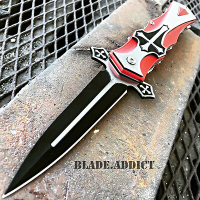 TAC-FORCE Spring Assisted Open RED CROSS Folding Blade STILETTO Pocket Knife!!
