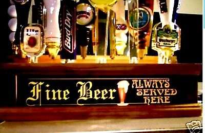 18  beer tap handle display w built in Led lighted bar sign behind bar display