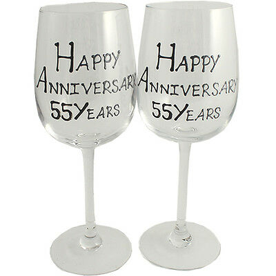 55th Year Wedding Anniversary Pair of Wine Glasses (Black/Silver)