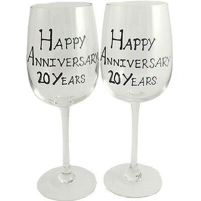 Personalised 20 Year (China) Wedding Anniversary Pair of Wine Glasses (Blk/Sil)