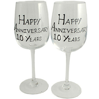 Personalised 10 Year (Tin) Wedding Anniversary Pair of Wine Glasses Black/Silver