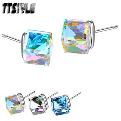 TTStyle 925 Sterling Silver 8mm Hexagonal Crystal Earrings NEW A Pair