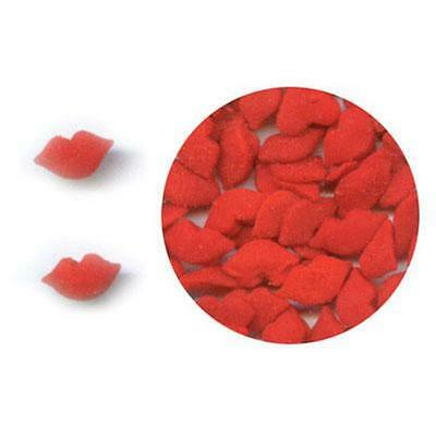 KISSING RED LIPS Edible Confetti Sprinkles by CK Products - cake/cupcake/pops