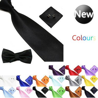 Mens Wedding Event Prom Party Necktie Silk Tie+Handkerchief+Cufflinks Set+Bowtie