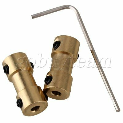 2pcs Brass Joint Motor Shaft Coupling Adapter For RC Aircraft 3mm to 3mm Golden