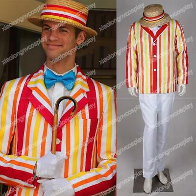 Mary Poppins Bert Men's Clothes Full Set Halloween Cosplay Costumes Custom Made