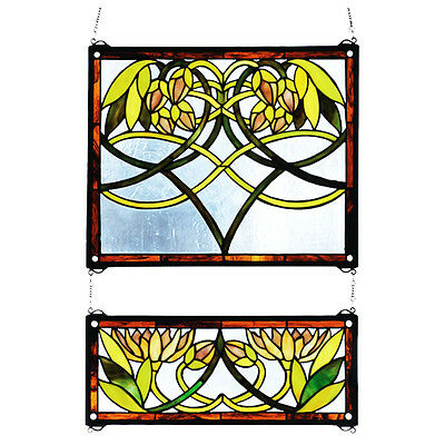 """Meyda Home Bedroom Decorative 21""""Wx26""""H Waterlily 2 Pieces Stained Glass Window"""