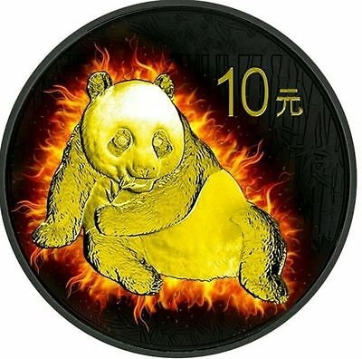 2015 Burning Panda - China Chinese 1oz Fine Silver Coin - 24ct Gold Gilded