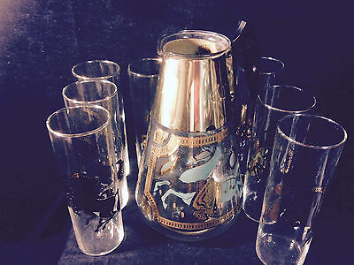 Vintage Fred Press Trojan Horse Decanter/Pitcher w/ 8 matching glasses