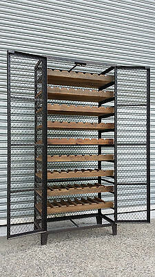 New French Industrial Recycled Vintage Bordeaux Cage Wine Rack - 72 Bottles