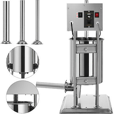 New Stainless Steel Meat Sausage Filler Stuffer Salami Maker Vertical 10L