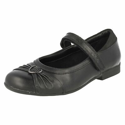 Clarks Dolly Heart Girls Black Leather School Shoes H Fit (KR)