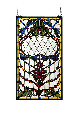 "Meyda Home Decorative 14""W X 25""H Dragonfly Allure Stained Glass Window"