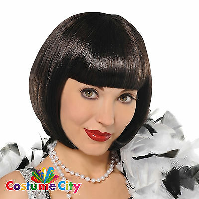 Adult Womens 1920s Black Flapper Wig 20s Fancy Dress Costume Accessory