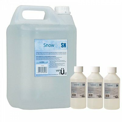 5L Snow Fluid For Artificial Snowflake Effect Machines + 3 x 250ml Concentrate