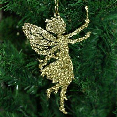 Pack of 6 Glitter Fairy Christmas Tree Hanging Pendant Decorations