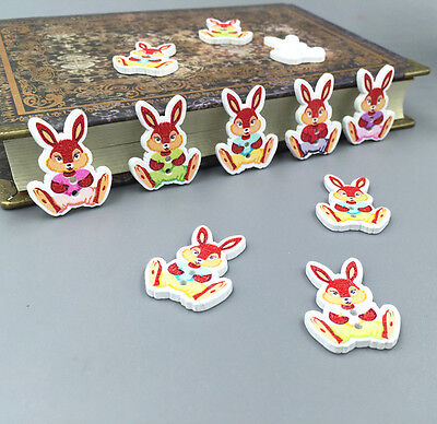 DIY 20-100 rabbit Wooden Buttons Fit Sewing Scrapbooking decoration Crafts 28mm