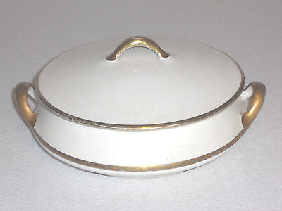Vintage Homer Laughlin Empress Serving/Chafing Dish with Cover 57L w/ Gold Trim