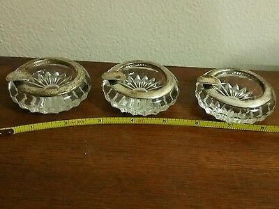 3 sterling 105 crystal ashtrays