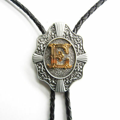 """Initial Letter """"E"""" Western Cowboy Rodeo Bolo Tie"""