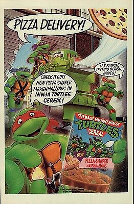 Original vintage 1991 TMNT Teenage Mutant Ninja Turtles CEREAL print ad page