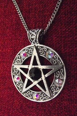 Celtic Star Pentagram Pagan Swarovsk Crystal Wiccan Pewter Pendant Necklace