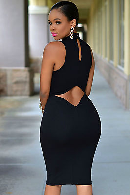 Mini Abito nero schiena aperta Nudo aderente Cutout Back Midi dress clubwear