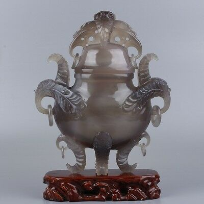 Very nice rare natural agate hand-carved  Incense Burners