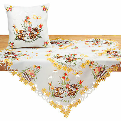 Easter Tablecloth Doily Table runner White Bunny Yellow Tulip Flower Embroidery