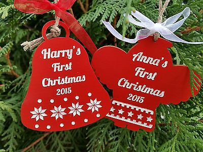 Wooden Christmas personalised tree ornament Baby's First Christmas Angel red