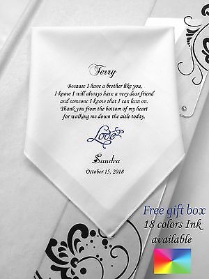 Personalized Printed Wedding Handkerchief For Brother Of Bride/1039