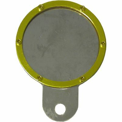 Tax Disc Holder Round Gold Rim 6 Studs Silver Backing