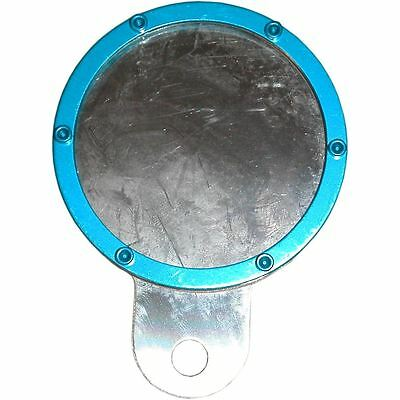Tax Disc Holder Round Blue Rim 6 Studs Silver Backing