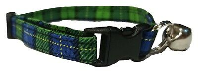 Blue Green Plaid Cat or kitten Collar Adjustable Scottish Kilt Fabric with bell