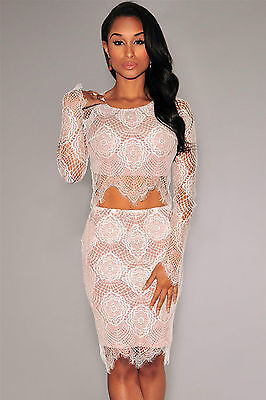 Mini Abito Set string gonna pizzo ricamato top Nudo Nude Illusion Lace Skirt Set