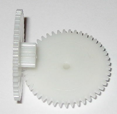 2X Plastic Dual Spur Robot Gear - 2.33mm Bore - 10T 8.2mm OD and 46T 28.9mm OD