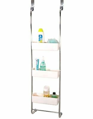 New Chrome 3 Tier Bathroom Caddy Storage Hanging Rack Shelves with White Baskets
