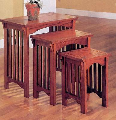3 Piece Mission Style Nesting Table Set in an Oak Finish by Coaster 901049