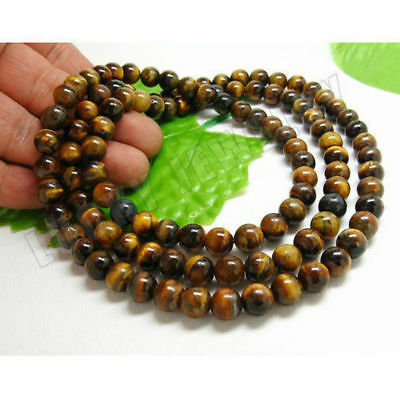 8mm Tibet Buddhism 108 Tiger's eye Prayer Bead Mala Necklace