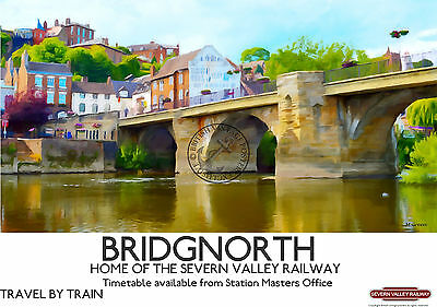 Bridgnorth VINTAGE RETRO Style RAILWAY ADVERTISING POSTER ART Print Bridgenorth