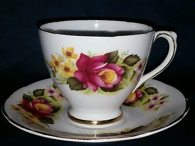 Vintage Royal Sutherland Fine Bone China Teacup and Saucer Maroon roses