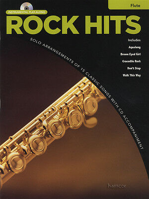 RRP 9.95 Rock Hits Instrumental Play-Along For Flute Sheet Music Book/CD