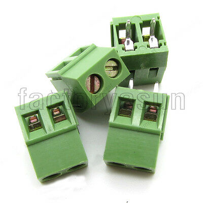 "10PCS PCB Screw Terminal Block 2 Pole 0.2"" 5mm Pin Pitch for 24-12AWG 300V 10A"