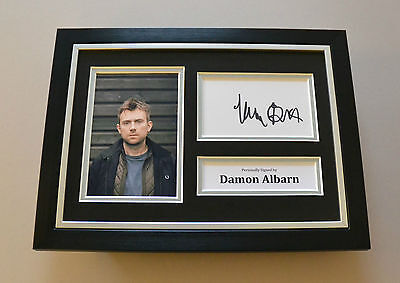 Damon Albarn Signed A4 Photo Framed Blur Autograph Display Memorabilia + COA