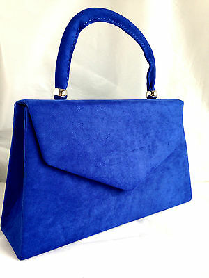 New Royal Blue Faux Suede Evening Day Clutch Bag Top Handle Club Xmas Party