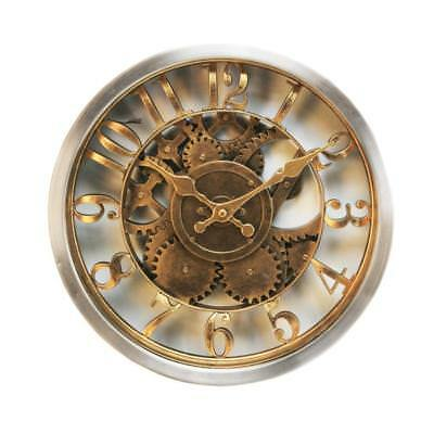 Beautiful Wall Clock Rustic Style Gold Case Skeleton Dial W7800