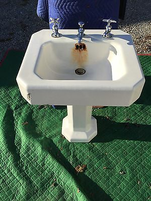 Antique Kohler White Cast Iron Pedestal Sink With Spigots