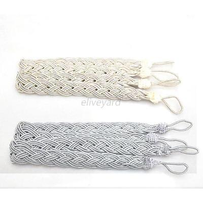 1 Pair/2Pcs Polyester Rope Window Curtain Knitted Tiebacks Braided Tie Backs