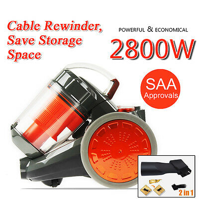 2800W Bagless Cyclone Cyclonic Vacuum Cleaner Filtration System Cable Rewinder