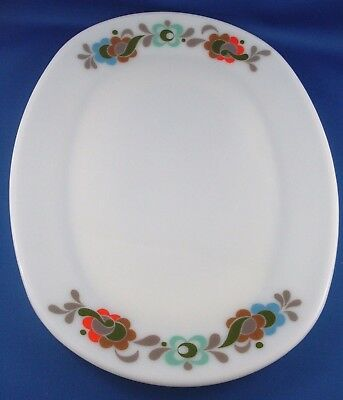 JAJ England MILK GLASS Retro FLORAL Serving Plate VG - In Australia